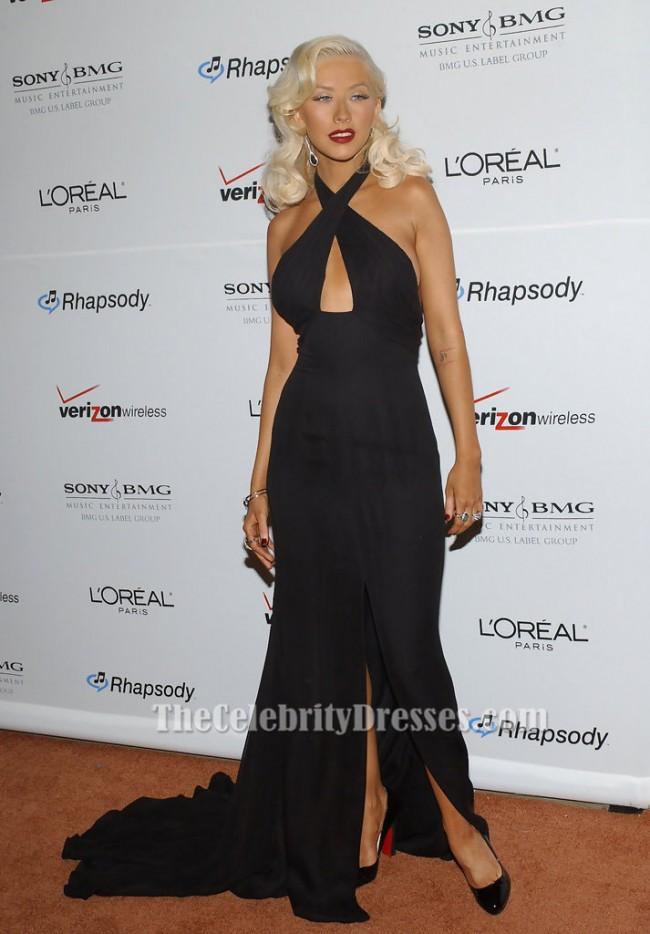 Christina Aguilera Sexy Black Halter Evening Dress Clive