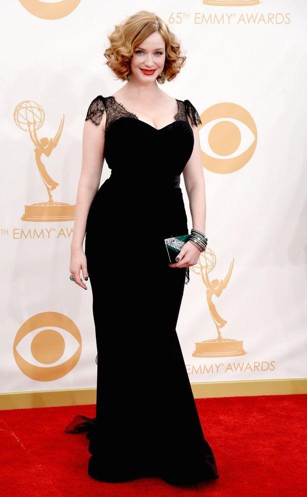 0c0c1670f8c Christina Hendricks Black Plus Size Prom Dress 2013 Emmy Awards Red Carpet