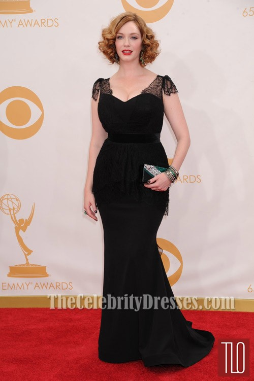 Christina Hendricks Black Plus Size Prom Dress 2013 Emmy Awards Red ...