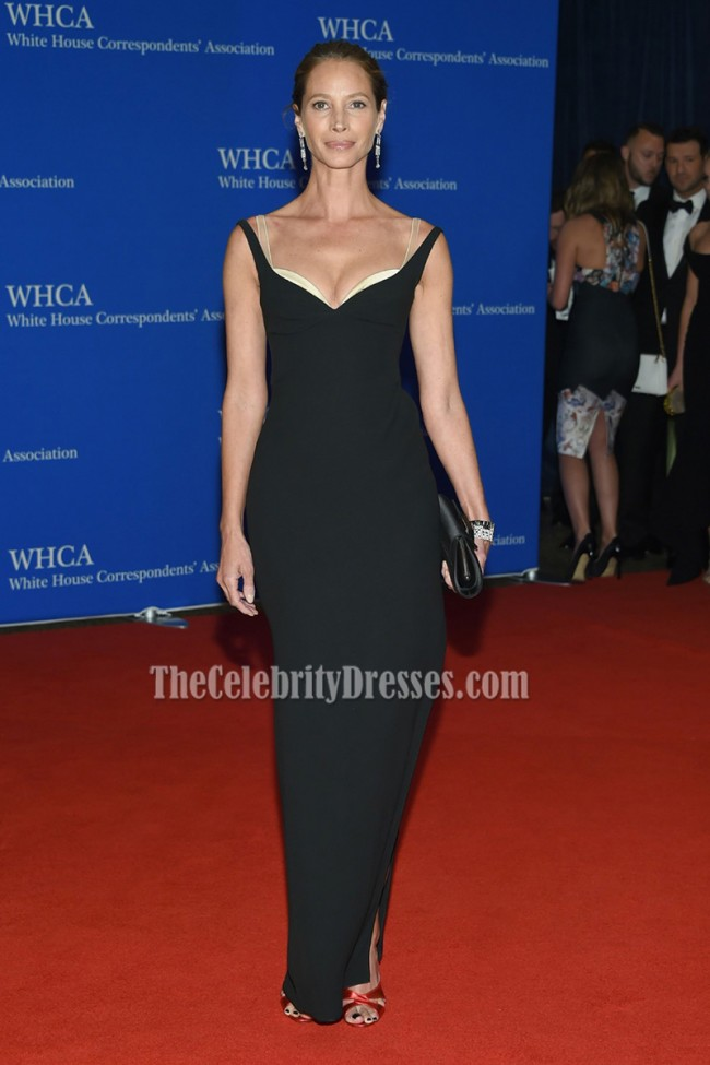 Christy Turlington Burns Black Evening Formal Dress 2016