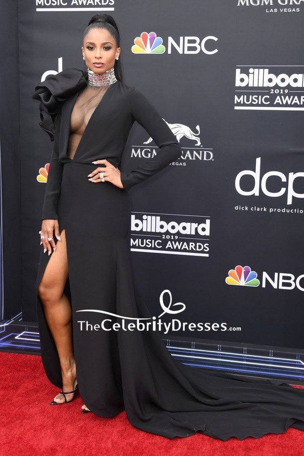 Ciara Black Thigh High Slit Formal Dress With Sleeves 2019