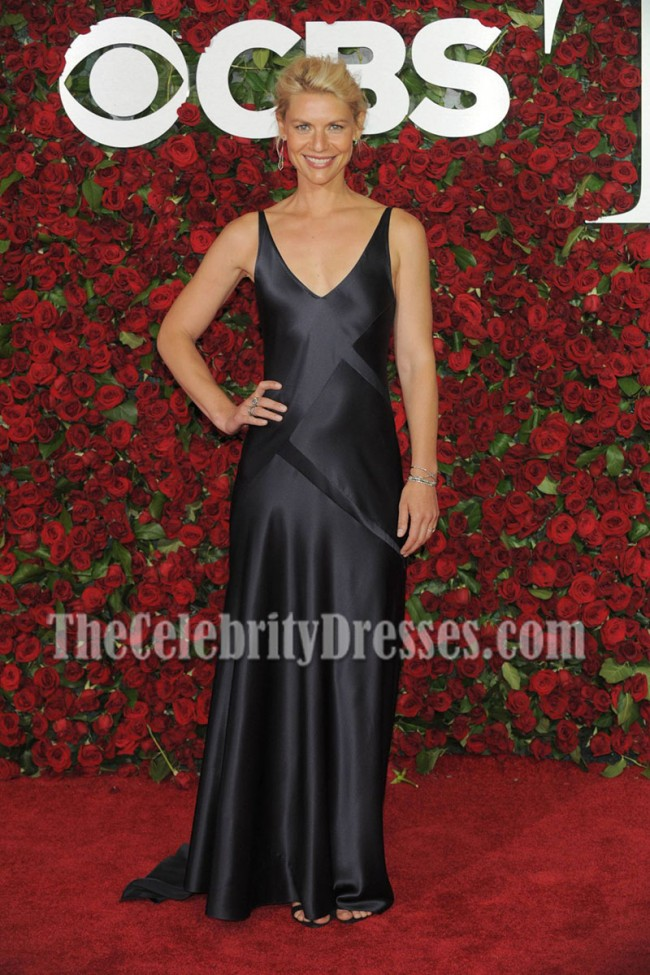 Claire Danes Navy V-neck Evening Prom Gown 70th Annual Tony Awards ...