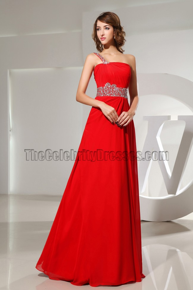 Classic Red One Shoulder Prom Dress Evening Formal Gown