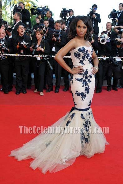167921dc2c Kerry Washington Embroidered Red Carpet Dress 2009 Cannes Film Festival