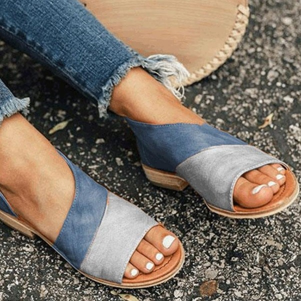 Color-block Round Open-toe Sandals Flat