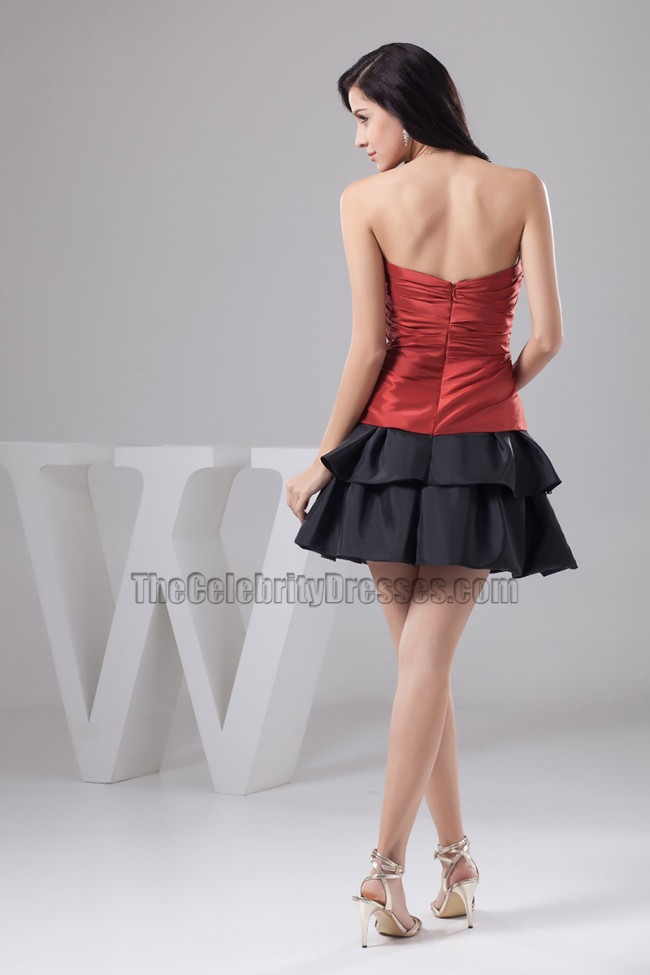 Red And Black Strapless Short Party Homecoming Dresses