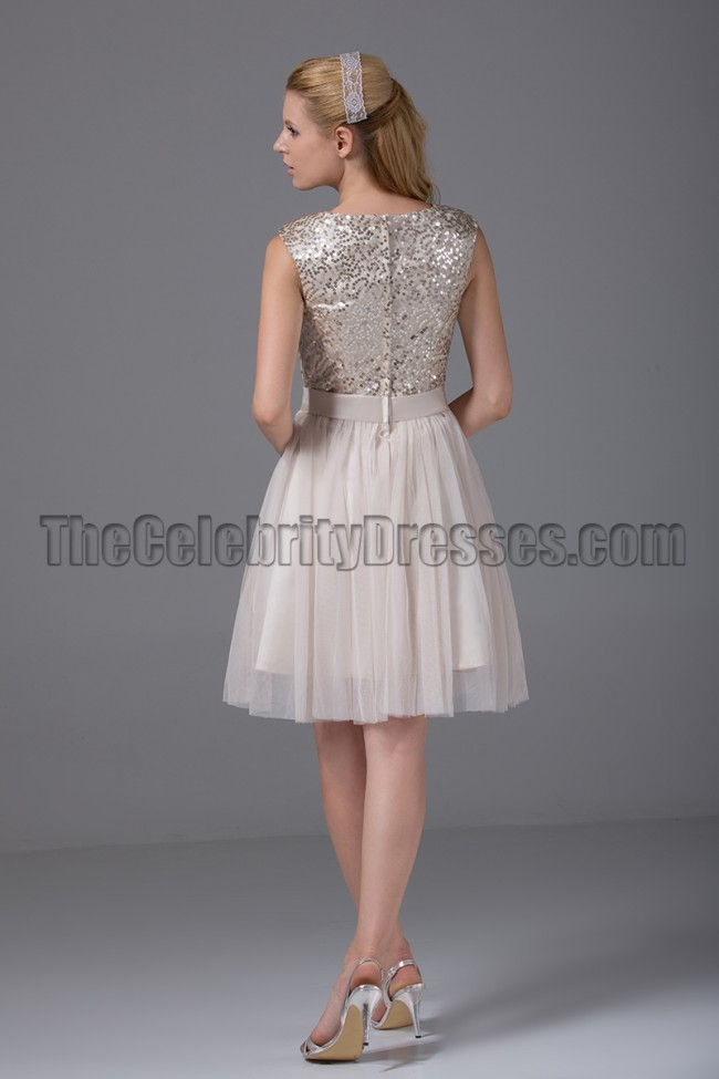 Cute Short A Line Sequined Party Homecoming Dresses