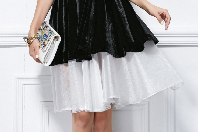 Cute White And Black Short Mini Party Homecoming Dresses ...