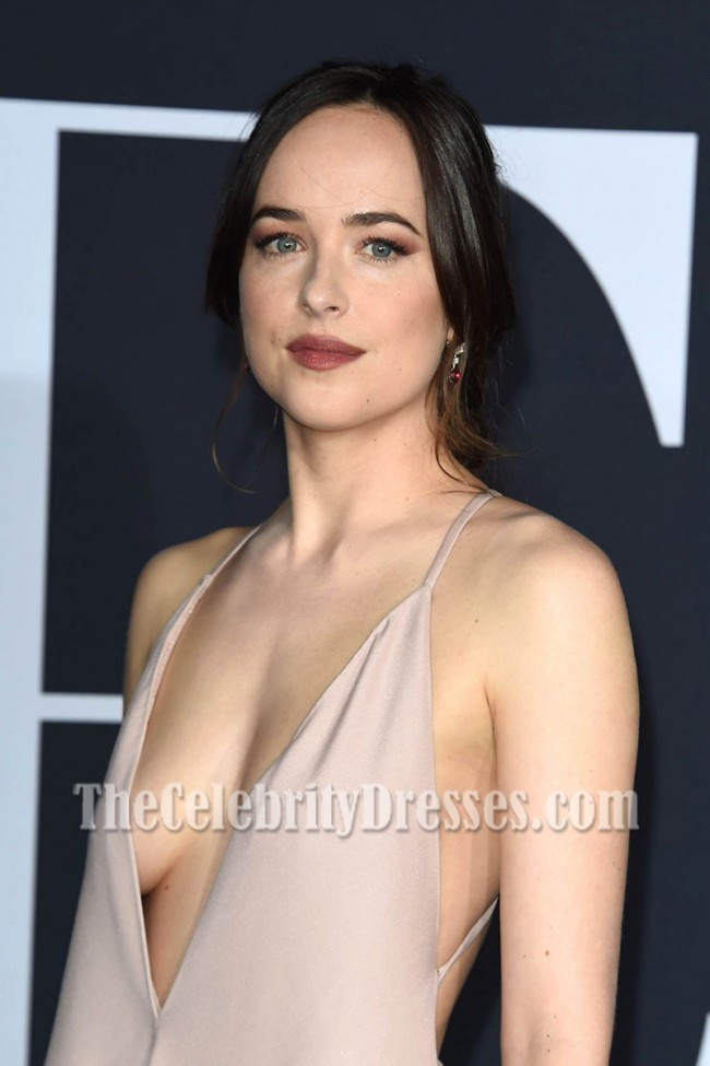 Dakota Johnson Deep V Neck Backless Evening Prom Gown