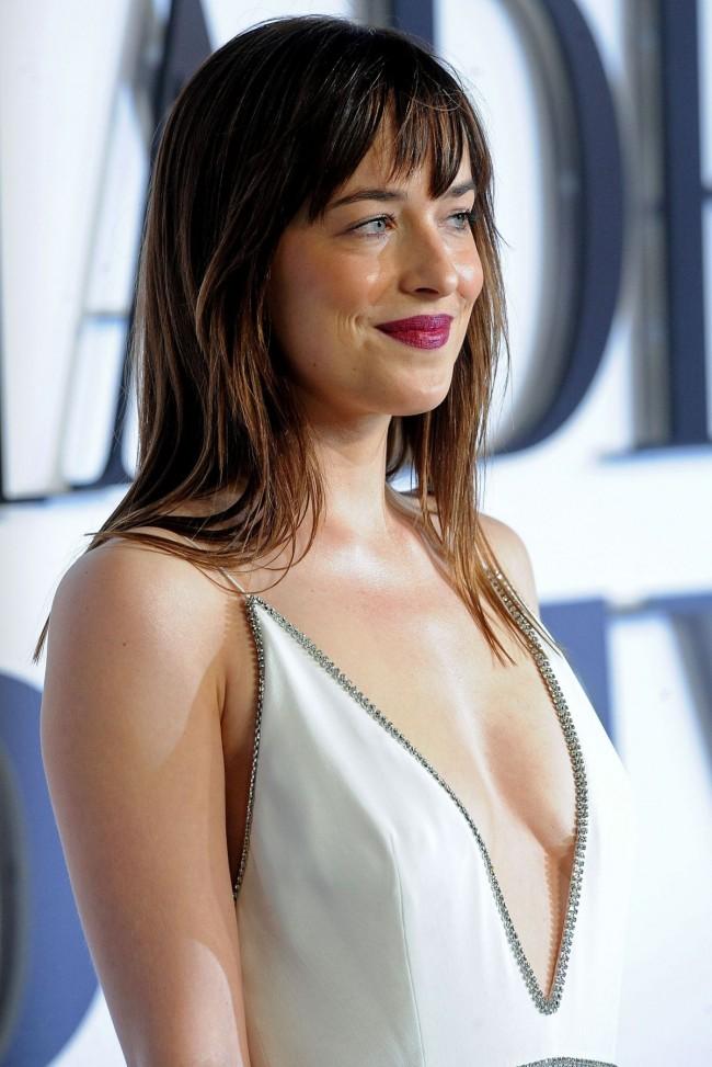 Dakota Johnson Deep V-Neck Evening Dress 'Fifty Shades Of Grey' London Premiere ...