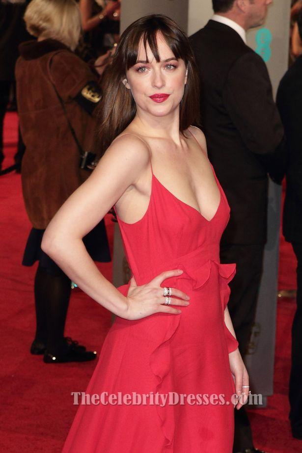 Dakota Johnson Red Evening Dress 2016 Bafta Awards Red