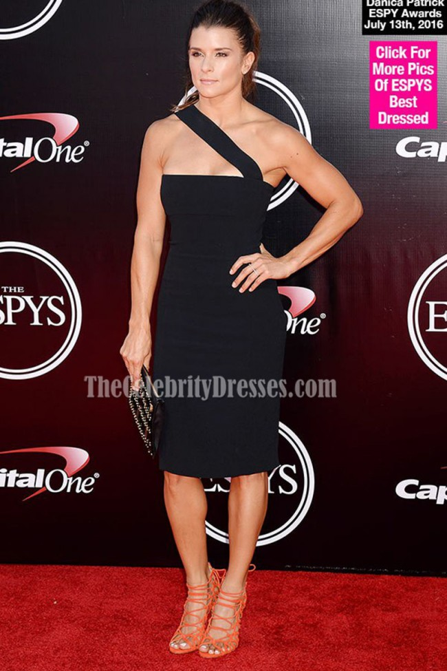 Danica Patrick Sexy Short Black One Shoulder Party Dress 2016 ESPYS