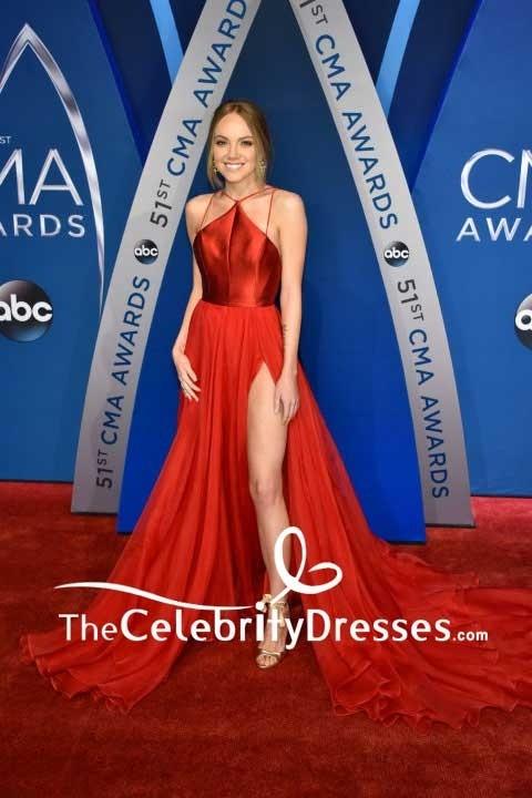 Danielle Bradbery Red Thigh-high Slit Evening Dress 2017 CMA Awards ... bae1c4b0d