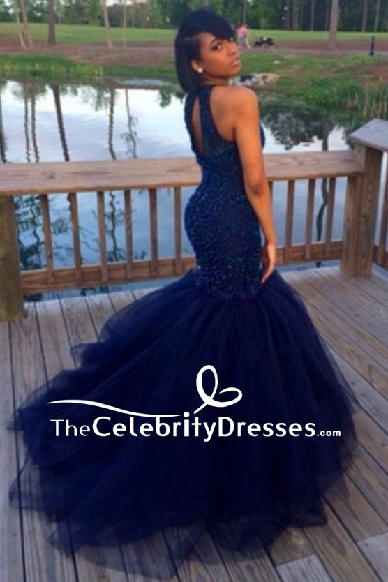 Dark Navy Mermaid Beaded Luxury Prom Gown Tulle Wedding Dress For ...