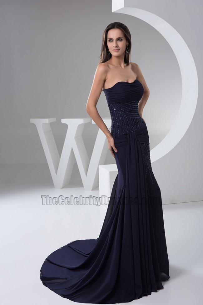 Dark Navy Strapless Chiffon Formal Dresses Evening Prom Gown ...