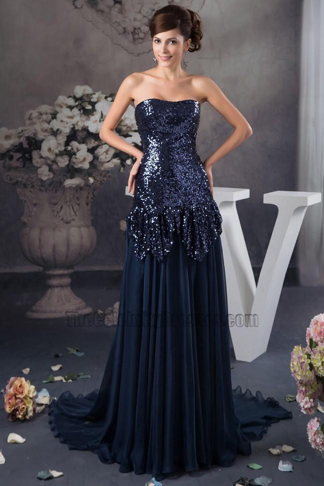 Dark Navy Strapless Sequins Chiffon Formal Dress Prom