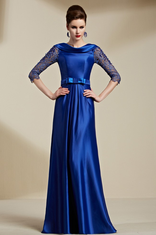 Celebrity Inspired Dark Royal Blue Backless Evening Dress Formal Gown