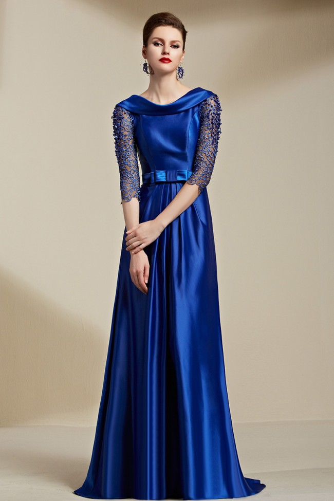 Celebrity Inspired Dark Royal Blue Backless Evening Dress