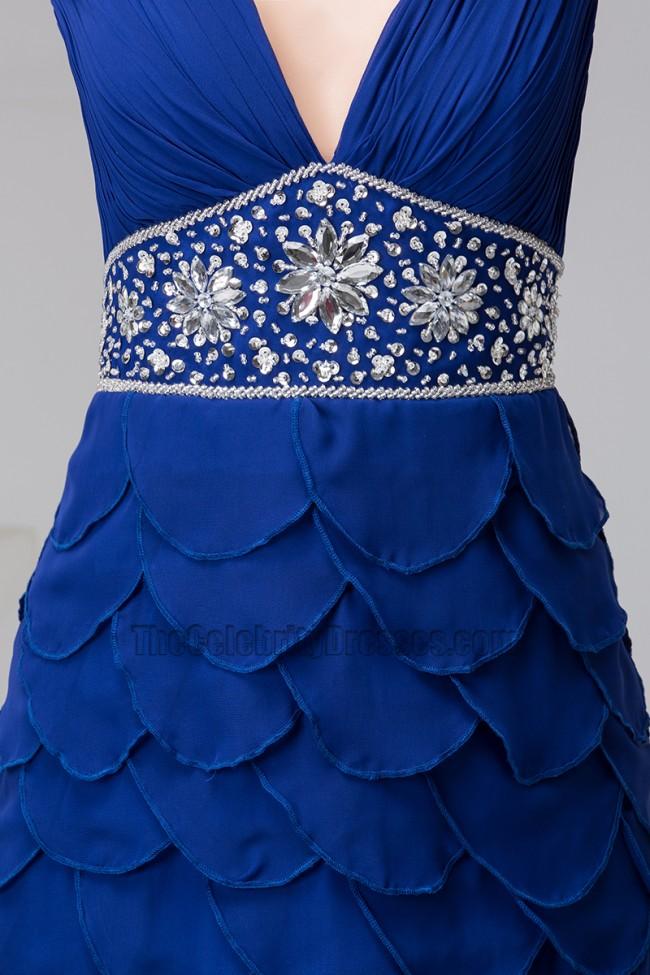 Dark Royal Blue Beaded Chiffon Prom Dress Formal Gown