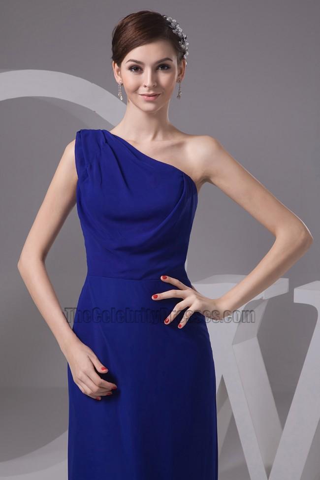 Dark Royal Blue One Shoulder Bridesmaid Dresses Prom Gown ...