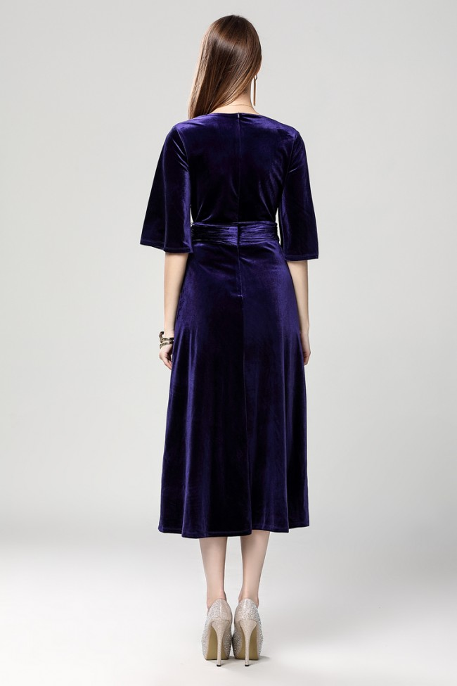 7e04a3a9a70d Dark Royal Blue Velvet Cocktail Semi Formal Dresses ...