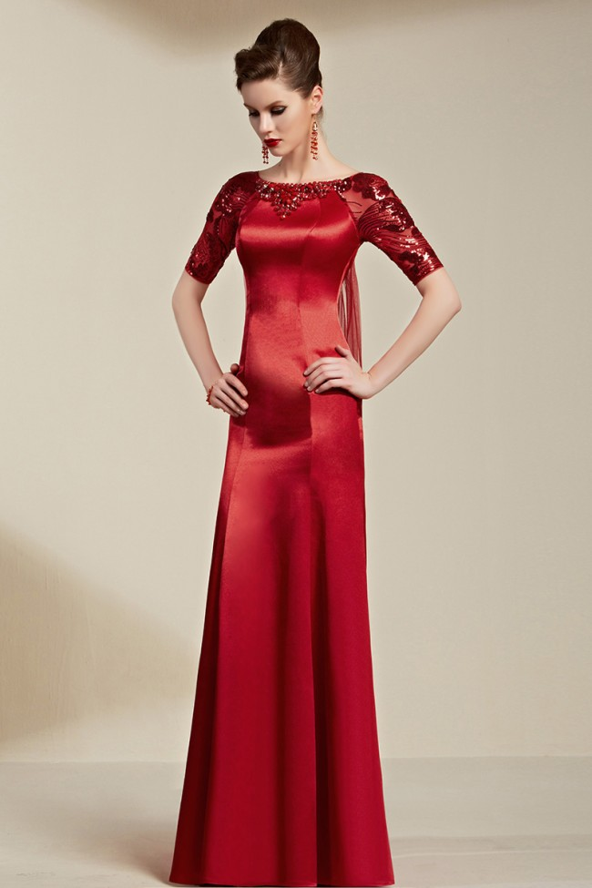 Deep Red Sequined Watteau Train Formal Dress Evening Gown With ...