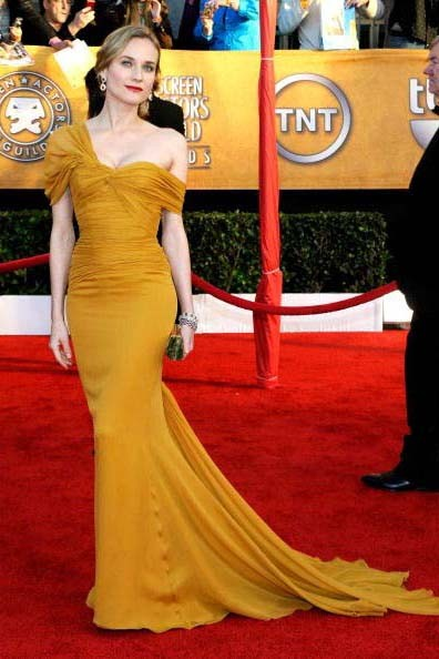 Diane Kruger Yellow Chiffon Formal Dress 2010 Sag Awards Red Carpet
