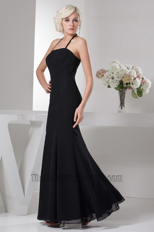 Discount Black Halter Chiffon Floor Length Prom Gown