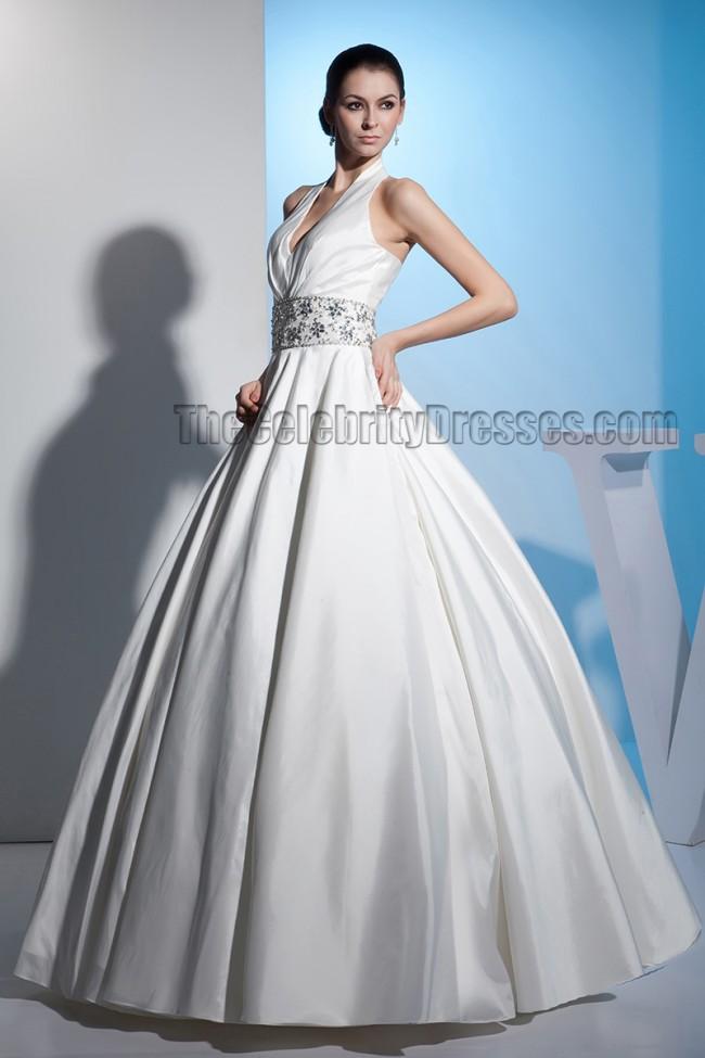 A Line Halter Beaded Wedding Dress