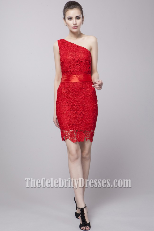 Discount Red Lace One Shoulder Party Cocktail Dresses ...