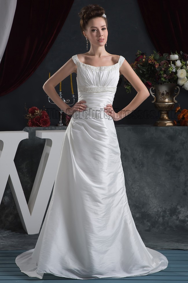 Discount sheath column beaded bridal gown wedding dress for Cheap sheath wedding dresses