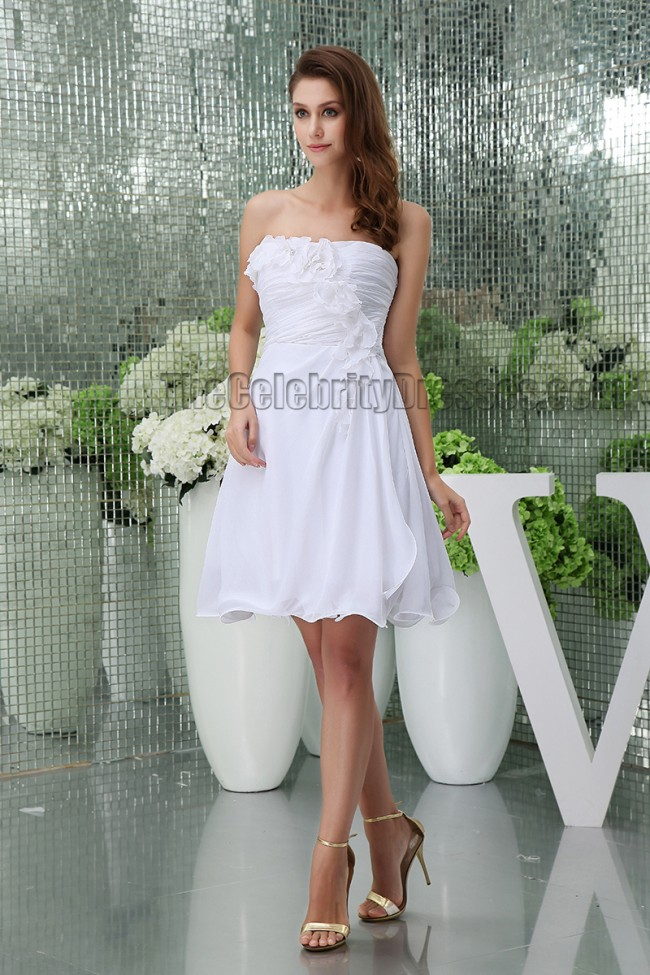 Discount short white strapless party homecoming graduation for Simple white dress for civil wedding
