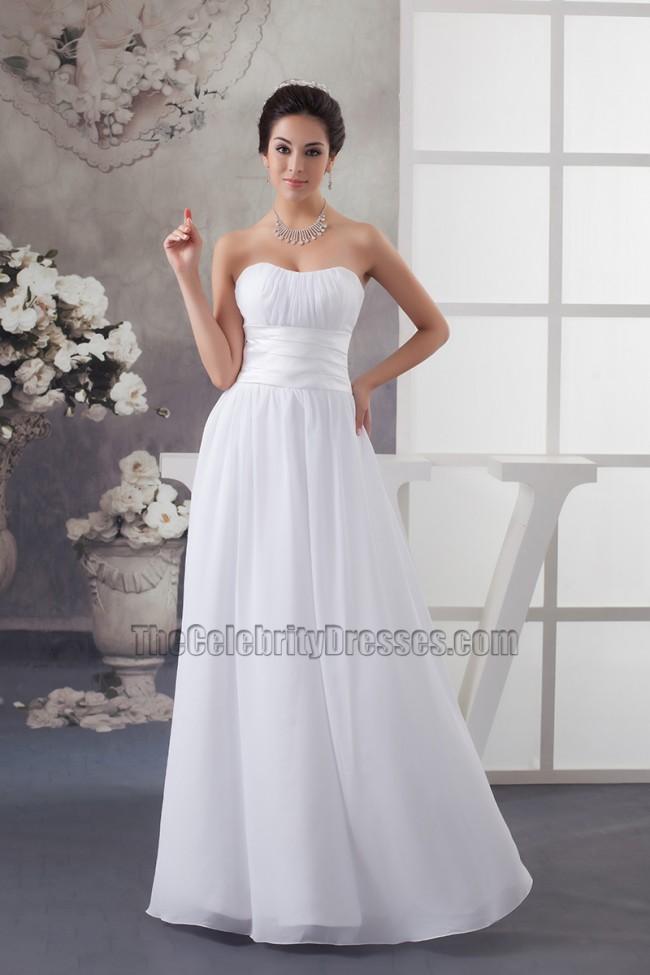Discount Strapless A Line Chiffon Floor Length Informal Wedding Dress