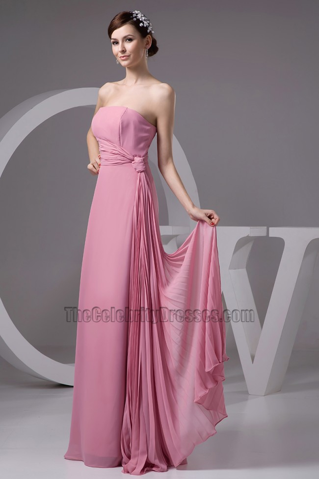 Discount strapless chiffon bridesmaid prom dresses for Cheap strapless wedding dresses