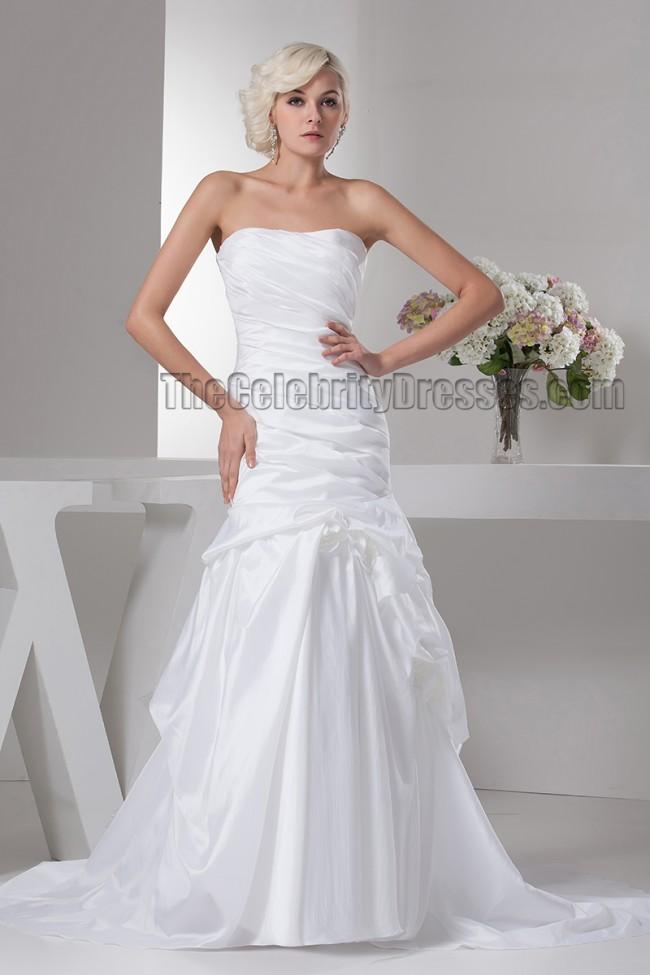 Discount strapless taffeta trumpet mermaid wedding dresses for Taffeta mermaid wedding dress