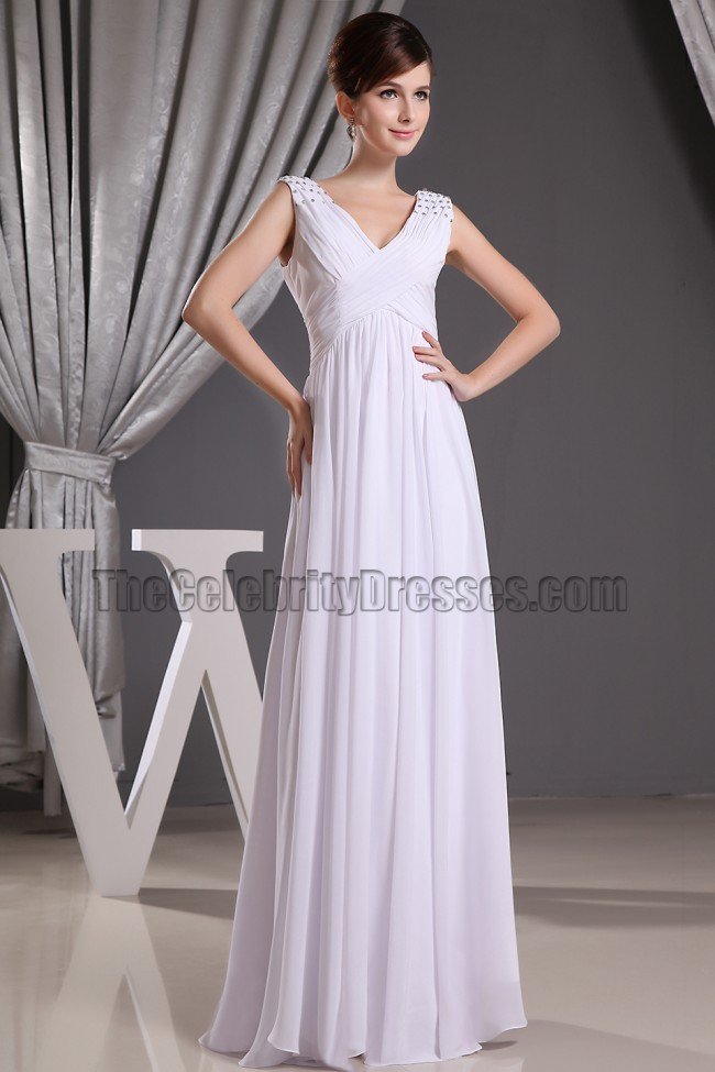 Discount white chiffon v neck prom gown evening dresses for Informal wedding dresses cheap