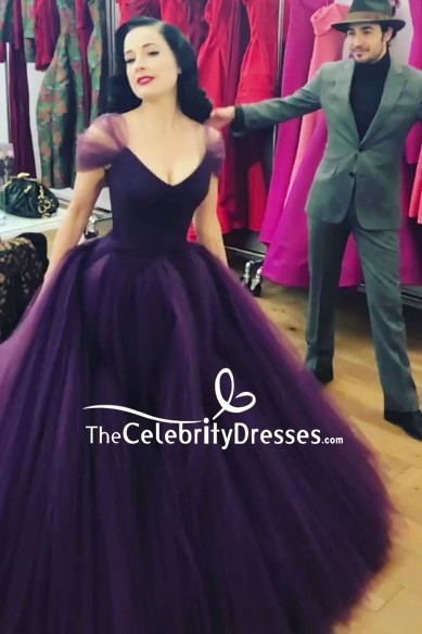 7c88f1a6ae Dita Von Teese Purple Cap Sleeves A-line Ball Gown - TheCelebrityDresses