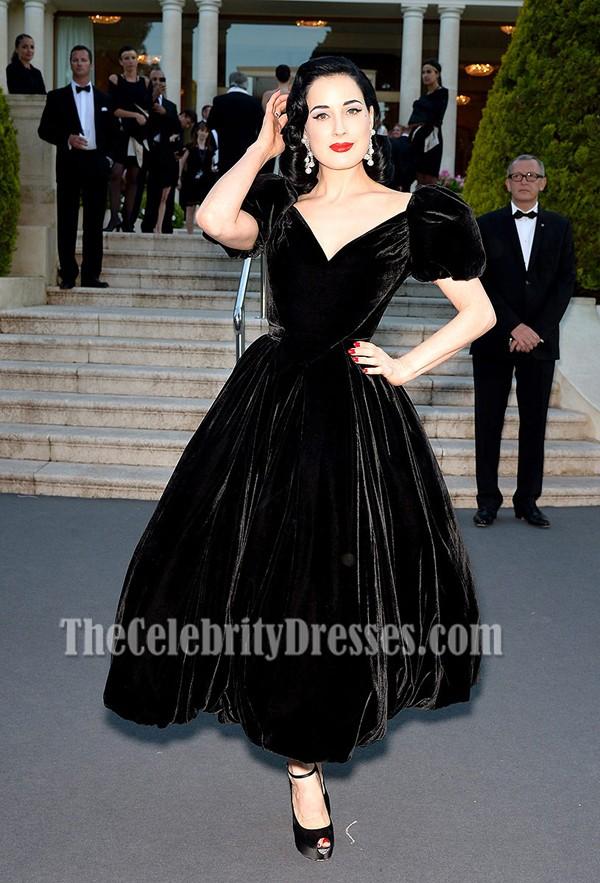 Dita Von Teese Black Prom Dress Amfar Cinema Against Aids Gala Thecelebritydresses