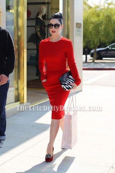 Dita Von Teese Red Long Sleeve Party Cocktail Pencil Dress ...
