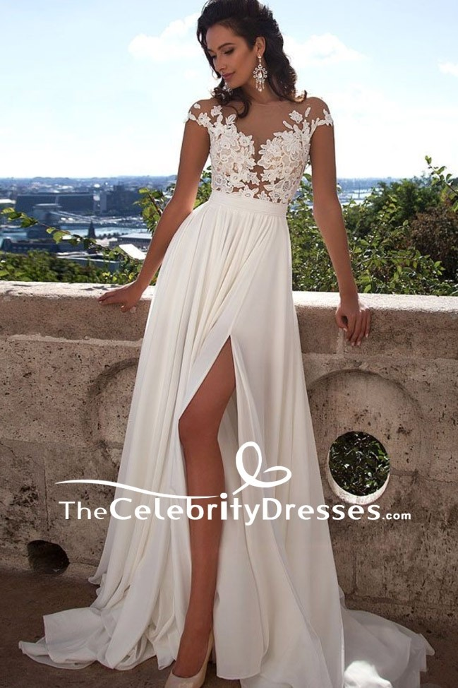 2a8065c92fcc Elegant Ivory Cap Sleeves Wedding Dress Thigh-high Slit Gown ...
