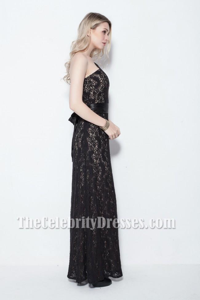 One shoulder lace formal dress