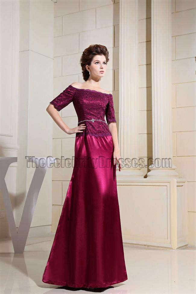 Elegant Burgundy Off-The-Shoulder Formal Dress Evening Gown