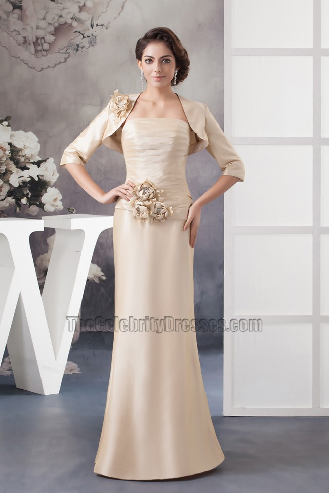Elegant Champagne Strapless Formal Mother Of Bride Dress