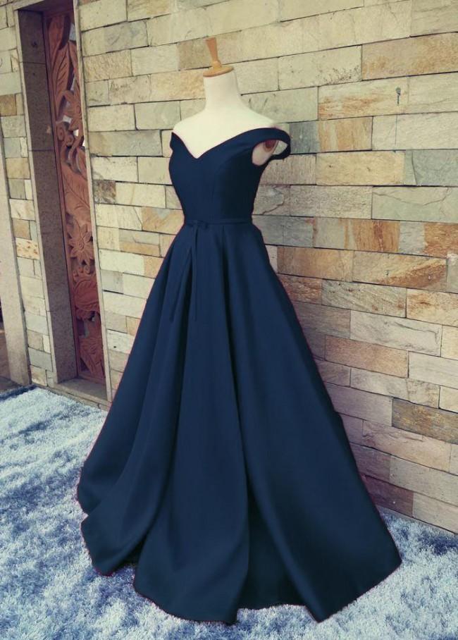 Elegant Dark Navy Blue A Line Prom Gown Evening Dress