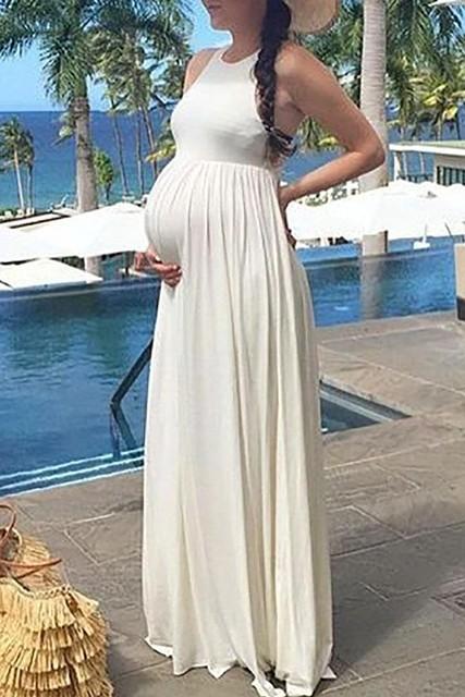Elegant Ivory Sleeveless Scoop Maxi Cheap Maternity Beach Dress Thecelebritydresses