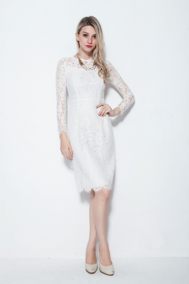 Elegant Long Sleeve Lace Knee Length Cocktail Party Dresses