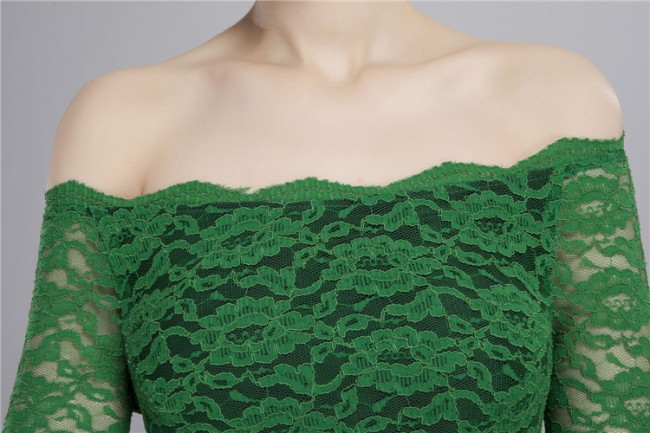 2559578adf5a Off-the-shoulder Long Sleeve Green Lace Cocktail Party Dresses ...