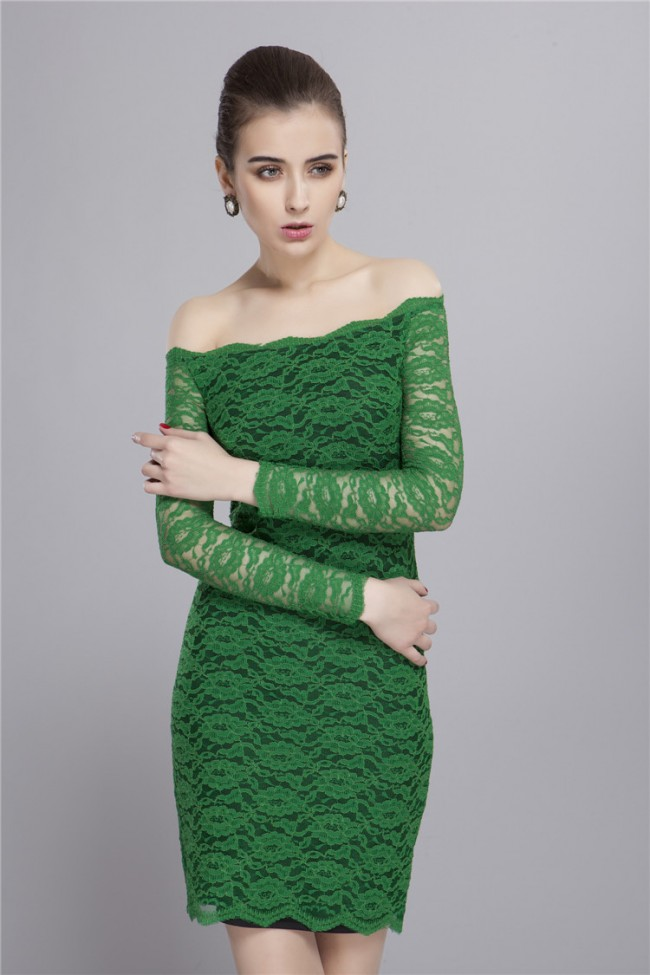 Off The Shoulder Long Sleeve Green Lace Cocktail Party