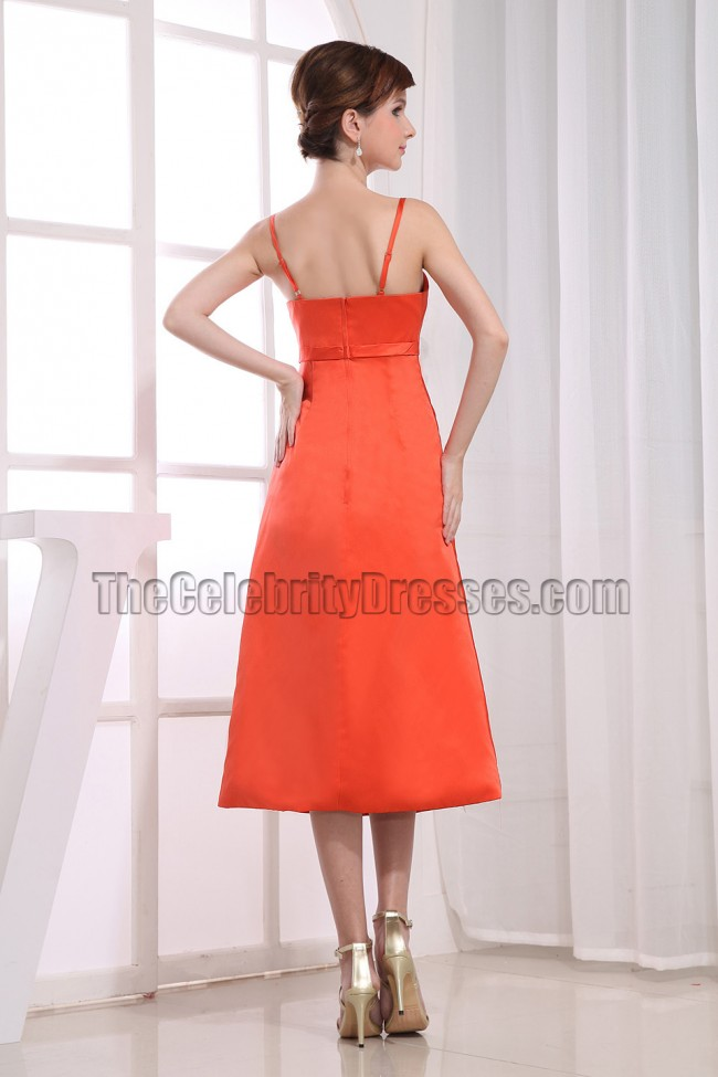 Elegant oranger red tea length bridesmaid dress prom for Red tea length wedding dress