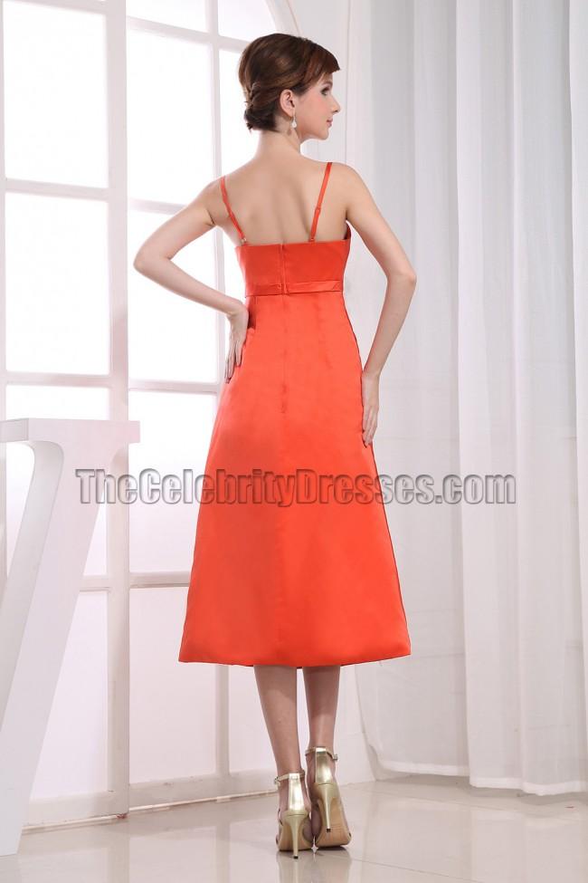 Elegant oranger red tea length bridesmaid dress prom for Red tea length wedding dress